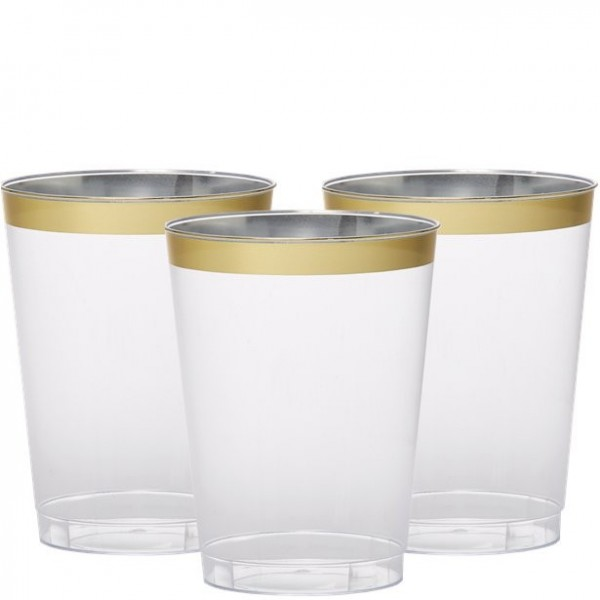 20 premium drinking glasses with gold rim 295ml