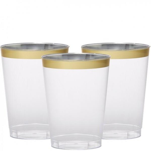 20 Premium Trinkgläser mit Goldkante 295ml