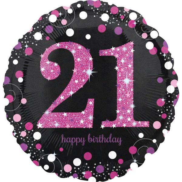 Pink 21st Birthday Folienballon 43cm