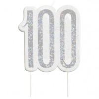 100.Geburtstag silberfarbene Tortenkerze