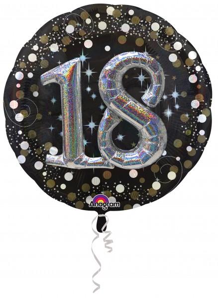 Balon foliowy 18 urodziny 3D brokat srebrny