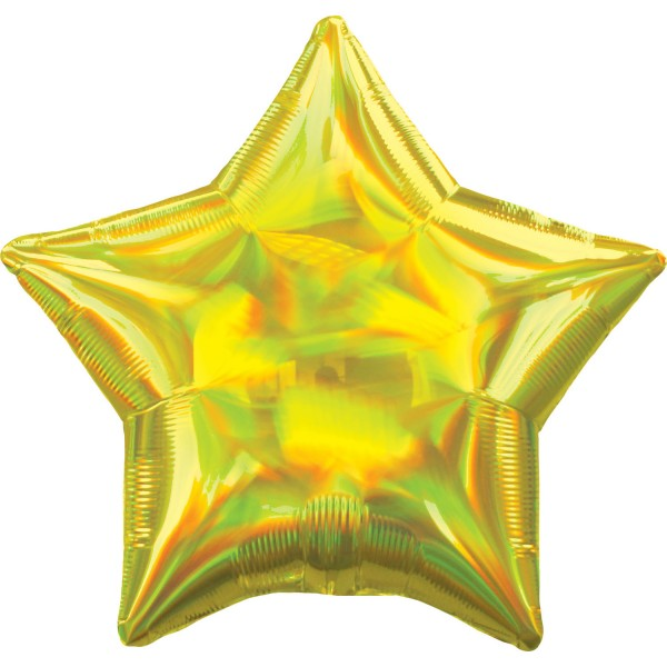 Holographic star balloon yellow 45cm