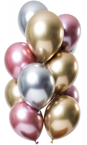 12 latex balloons mirror effect pink gold