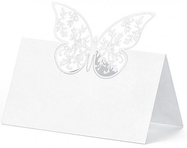 10 Tischkarten mit Schmetterling