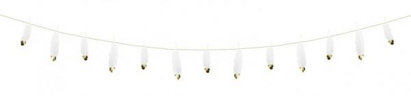 Ghirlanda di piume bianche con punta dorata 1.6m