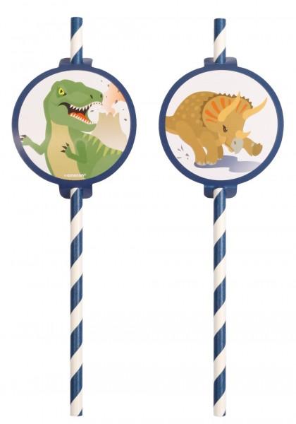 8 Happy Dinosaurs Strohhalme 19,7cm