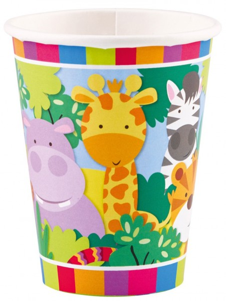 8 gobelets en papier Safari Party 266 ml