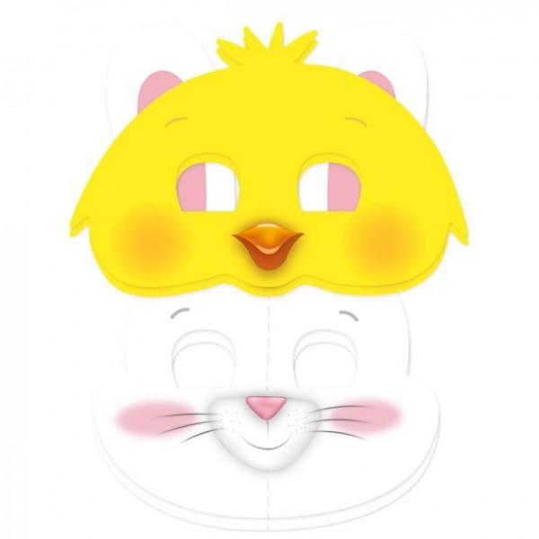 6 conigli e maschere di pulcino
