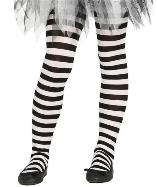 Schwarz-weiße Kinder Strumpfhose Lina