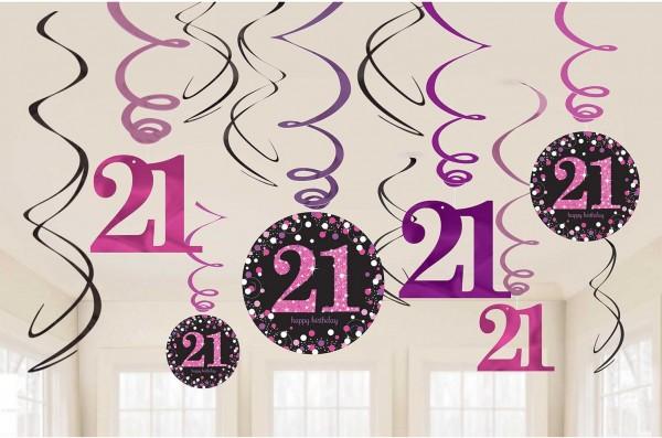 12 percha espiral rosa 21 cumpleaños 61cm
