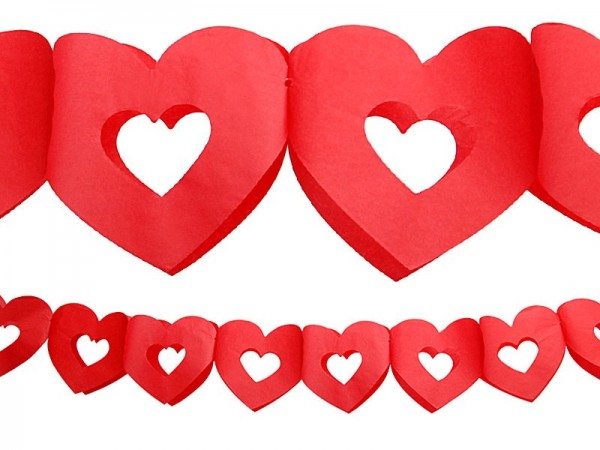 Red paper heart garland 3m