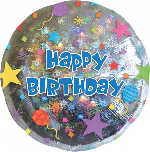 Happy Birthday glinsterende ballon rond