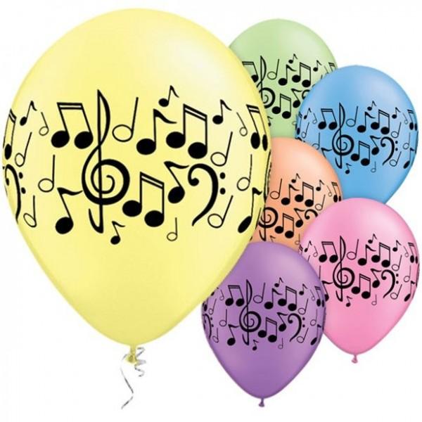 25 Musiknoten Wirbel Luftballons 28cm