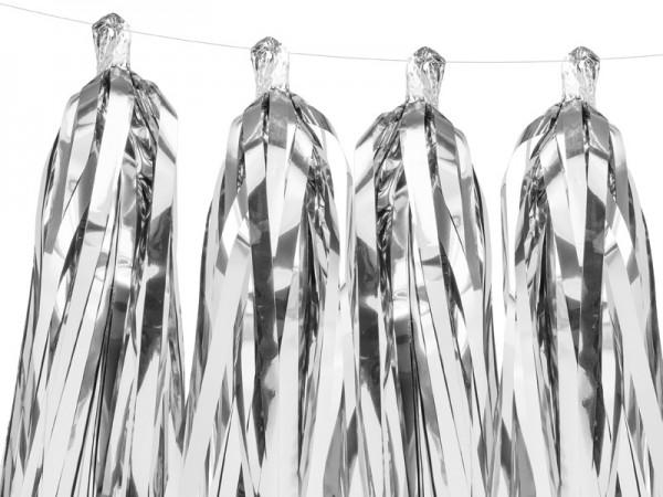 Guirnalda de borlas plateadas 1,5mx 30cm
