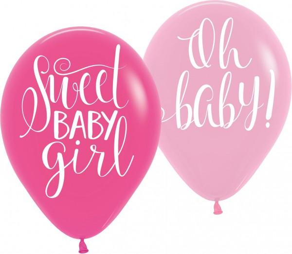 6 Sweet Baby Girl balloons 27.5cm