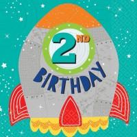 16 Space Party 2nd Birthday Servietten 33cm