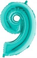XXL Zahlenballon 9 Mintgrün 1,02m