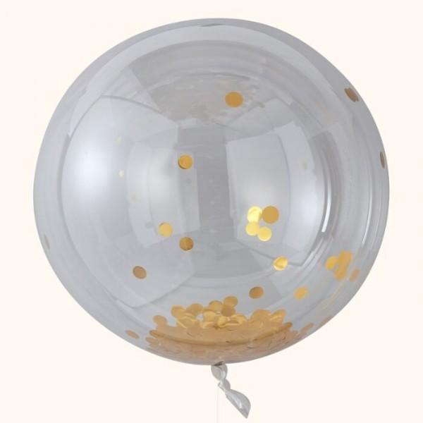 3 Hooray XL Konfettiballons gold 91cm
