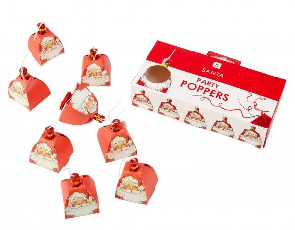 8 Popper Fête du Père Noël 6 x 4 cm