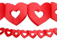 Rote Papier Herz Girlande 3m
