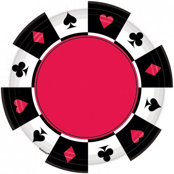 8 assiettes en carton Partytime Casino 17,7 cm