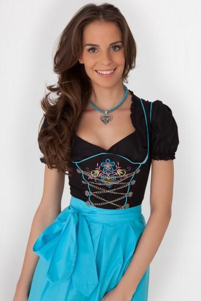 Sophie Midi Dirndl schwarz-türkis
