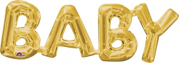 Ballon aluminium lettrage bébé en or 66x22cm