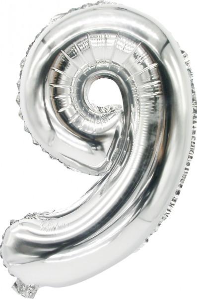 Folienballon Zahl 9 silber 43cm