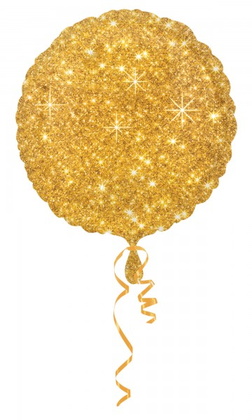 10 Edle Glitzer Diamant Folienballons in Gold