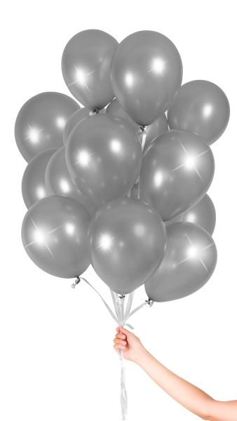 30 Ballons mit Band silber 23cm