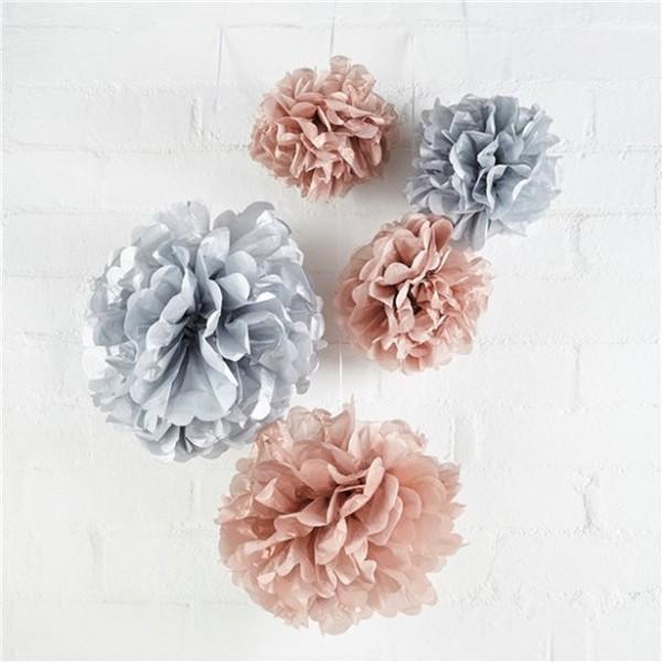 Papier Pompoms grau-rosé 5-teilig