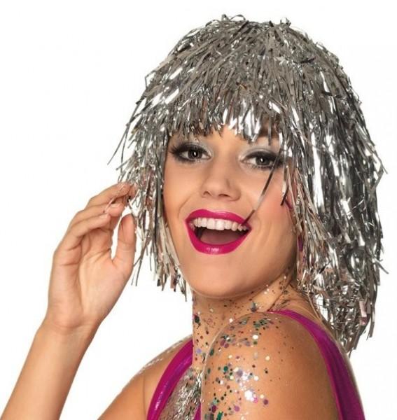Silver tinsel disco wig