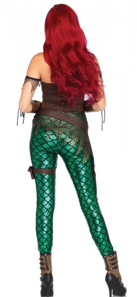 Purple-green sea mermaid catsuit with belt and garter