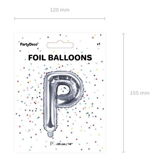 Ballon aluminium lettre P argent 35cm