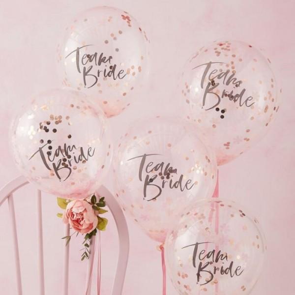 5 Rosy Bride Konfettiballons 30cm