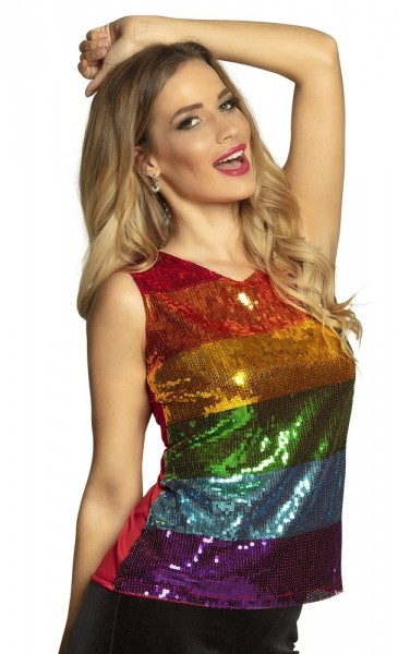 Top sequin arc-en-ciel Iona