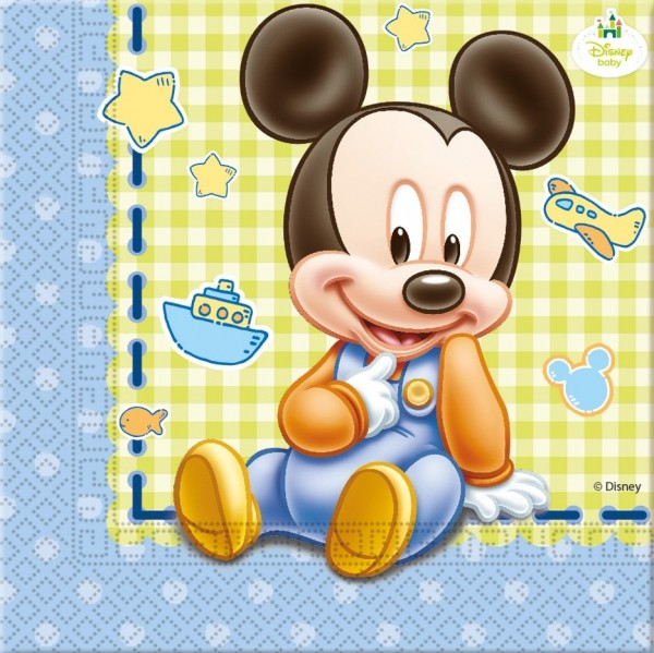20 Mickey Mouse Babyparty Servietten 33cm
