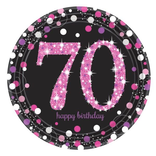 8 Pink 70th Birthday Pappteller 23cm
