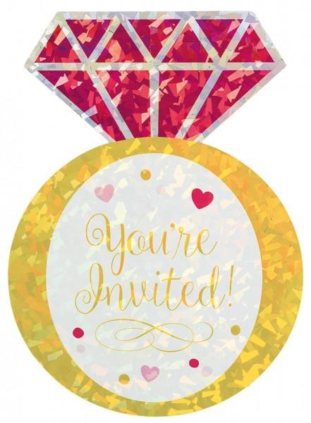 8 Diamantring Einladungskarten