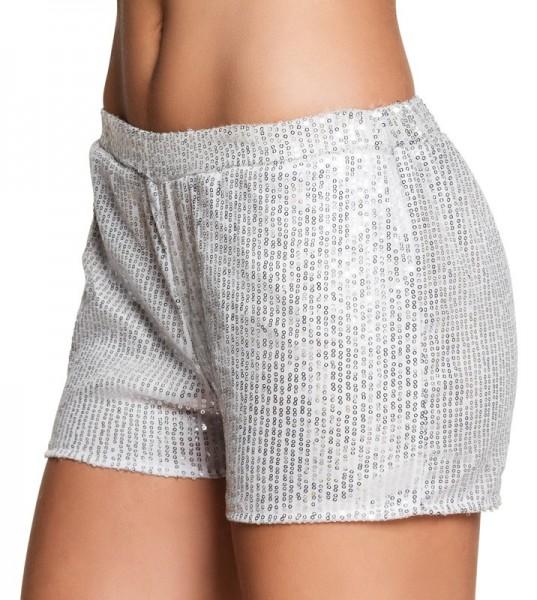 Glitzer Pailletten Hotpants In Silber