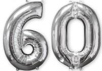 Folienballon Zahl 60 silber 66cm