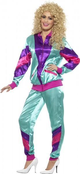 Colorful aerobic silk look jogging suit