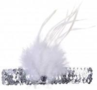 Charleston Pailletten Stirnband Mit Weißer Feder