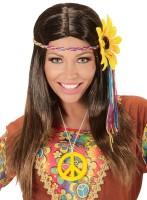 Hippie Perücke mit buntem Haarband
