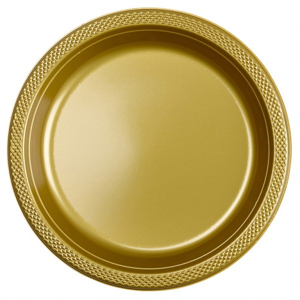 10 assiettes en plastique Partytime Gold 23cm