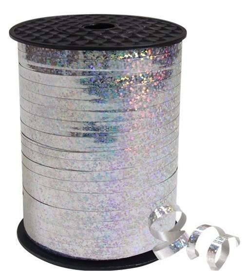 228m Holografisches Geschenkband silber