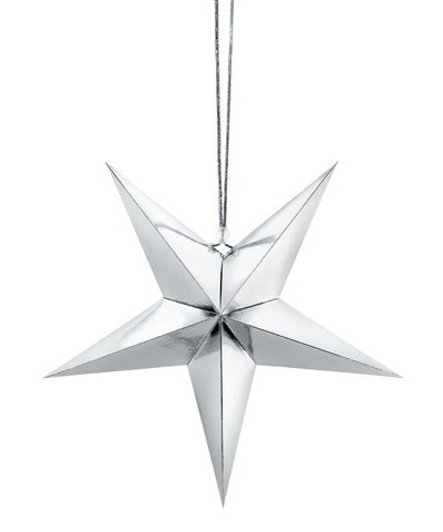 Étoile en papier réfléchissant en argent 30cm