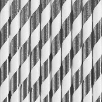 10 gestreifte Papier Strohhalme silber 19,5cm
