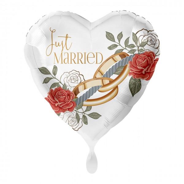 Just Married pierścionki balon foliowy serce 43cm