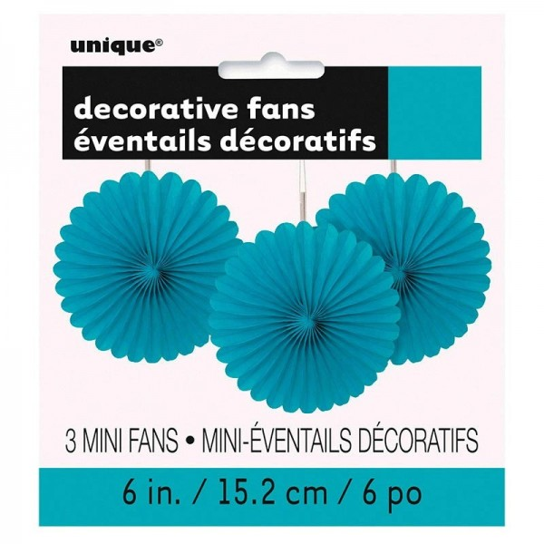 Abanico decorativo flor azul turquesa 15cm set de 3